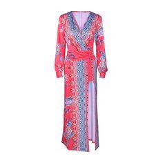 Rotita High Slit Printed Lantern Sleeve Maxi Dress ($24) ❤ liked on Polyvore featuring dresses, red, long sleeve dress, boho dresses, long sleeve v neck dress, v-neck dresses and red maxi dress