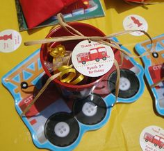 Fire truck party favors - DIY favor tags from Chickabug.com