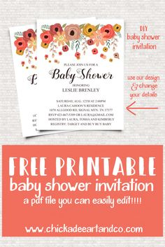 baby shower invitations that can be edited floral borders invitations free printable invitation 13550
