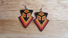 Peyote Stitch Arrowhead earrings, Native inspired.