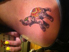 Elephant tattoo - I love the colors