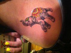 Elephant tattoo - I love the colors