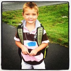 Landon Bingaman gets ready for his first day at Hamilton Heights.