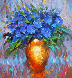 Flowers in yellow vase   Flowers Oil Painting on by spirosart