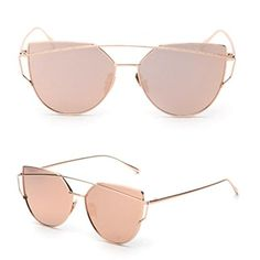 TIFENNY Fashion TwinBeams Classic Women Metal Frame Mirror Sunglasses Cat Eye Glasses Rose Gold Rose Gold *** You can find more details by visiting the image link. (Note:Amazon affiliate link)