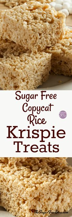 YUM! Sugar Free Rice Krispie Treats! The perfect copycat recipe that is also made without a lot of sugar. #sugarfree #copycat #recipe #ricekrispietreats #cereal #yummy #keto #baked #dessert #holidays