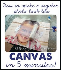 Great project idea! How to make a regular photo look like canvas! #photos #canvas #diy