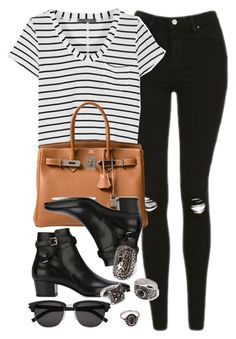 """""""Style #11070"""" by vany-alvarado ❤ liked on Polyvore featuring Topshop, Tart, Hermès, Yves Saint Laurent and Forever 21"""