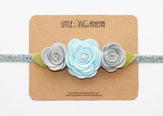 Silver Gray and Blue Snow Felt Flower Headband // Wool Felt Flower // Spring Headband // Easter Headband // Baby Girls, Toddler, Children on Etsy, $7.75