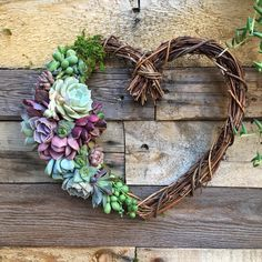 18 Sweet Heart Wreath, Heart Shaped Grapevine Wreath Trimmed with Beautiful Succulents, birthday gift, Valentine gift, Mother's gift Colorful Succulents, Succulents In Containers, Succulents Garden, Succulent Gifts, Succulent Wreath, Diy Wreath, Grapevine Wreath, Wreaths, Succulent Arrangements