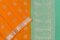 Orange soft silk with a green paloo and blouse. Soft Silk Sarees, Green Blouse, Silk Thread, Pure Products, Orange, Fabric, Color, Tejido, Tela