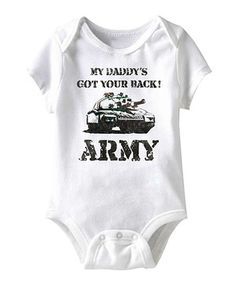 Show support for an active duty soldier and hometown hero with this simple yet statement-making bodysuit. Snaps on bottom make for faster changing, leaving more time for snuggly salutes.