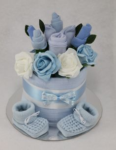 Baby Boy Clothes Flower Bouquet Nappy Cake