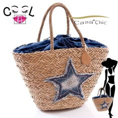 BORSA MARE DONNA paglia palma STELLA jeans passeggio città spiaggia fashion  bag 201b706fc5b9