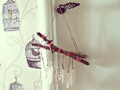 Aztec wooden mobile with handpainted driftwood, feathers (with various print, might be different then on pics, but still lovely and very boho), wooden beads  Bohemian triba... #etsy #handmade #craft