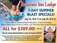 The Bavarian Inn Lodge is having Summer Blast Specials! Check them out! Frankenmuth Bavarian Inn, Food Vouchers, Summer, Check, Summer Time