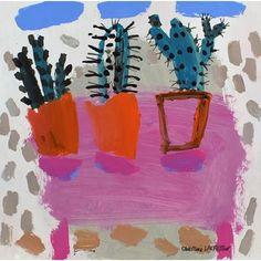 Still Life Painting Of Three Cactus Plants