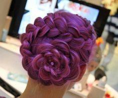 Hot pink flower braid Hairup style
