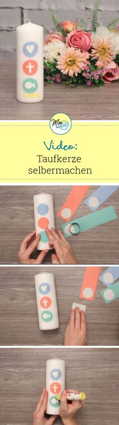Taufkerze selber machen – So funktioniert es Baptism candle homemade christening candle boy christening candle girl. Video tutorial and many ideas to make a christening candle. Diy Gifts To Sell, Diy Gifts For Dad, Diy Baby Gifts, Diy Crafts For Kids, Diy Christmas Lights, Baptism Candle, Boy Christening, Easter Traditions, Homemade Candles