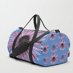 Urban daisy wearing street-cred stripes Duffle Bag by mokkihopero Bags Game, Cool Phone Cases, Brushed Nickel, Poplin, Travel Bags, Gym Bag, Print Design, Shoulder Strap, Daisy