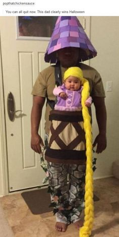 Scroll to observe some of our favourite family Halloween costume ideas. It's not among the simplest DIY Halloween costumes out there, but it's definitely Funny Baby Costumes, Meme Costume, Cute Costumes, Family Costumes, Costume Ideas, Baby Halloween Costumes For Girls, Infant Costumes, Rapunzel Halloween Costume, Disney Baby Costumes