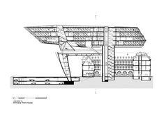 Oficinas portuarias de Amberes,Corte Longitudinal