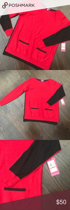 NWT Vince Camuto Red & Black Colorblock Sweater NWT. Colorblock sweater by Vince Camuto. Front is red & black. Back is purple and black. Has front pockets. Size PXS. Vince Camuto Sweaters Crew & Scoop Necks
