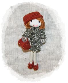 Handmade Felt Doll Pin Brooch Necklace Cake Topper Tree in Beret and Suit  doll house doll,. €35.00, via Etsy.
