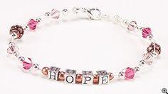 Jewelry Making Idea: Raspberry and Caramel HOPE Bracelet (eebeads.com)