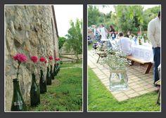 botellas de cava y champagne con flores. potes de yogurt con flores