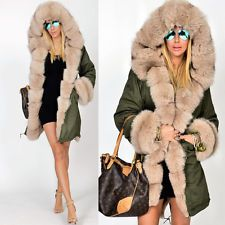 Roiii NEW Womens Faux Fur Hooded Jacket Winter Warm Parka Coat ...
