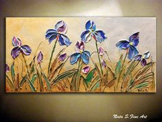 "Wild Irises ORIGINAL Contemporary Painting. Abstract .Palette Knife.Original Flower Painting.Modern Irises Painting 24"" x 12""... by Nata S."