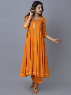 Orange Cotton Chanderi Kurta with Pants - Set of 2 Kurti Designs Party Wear, Kurta Designs, Blouse Designs, Ethnic Outfits, Indian Outfits, Indian Dresses, Trendy Outfits, Summer Outfits, Casual Dresses