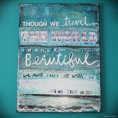 Etsy: Find The Beautiful - a large original mixed media painting on canvas - serene blues, ocean themes, inspiring words