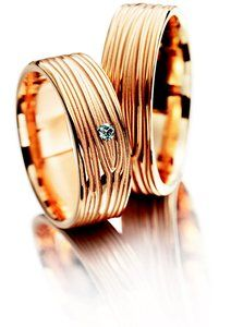 Meister Rose gold wedding ring set with 1x diamond 0.030ct G-VS