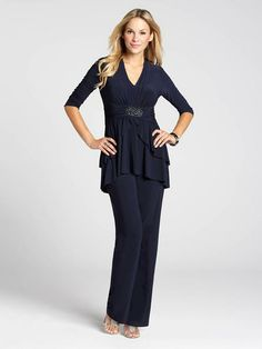 Take a different approach to evening dressing in a stunning pant suit! This three-piece set features a solid camisole, a jacket with a ruched waist and ruffled peplum, and solid straight leg pants, all contributing to a gorgeous look that is comfortable a Evening Attire, Straight Leg Pants, Peplum Dress, Camisole, Dressing, Suits, Formal, Jackets, Decor Ideas