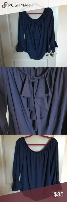 Ruffled Bow Blouse Brand new, never worn off the shoulder Ruffled bow Blouse! Sami & Jo Tops Blouses