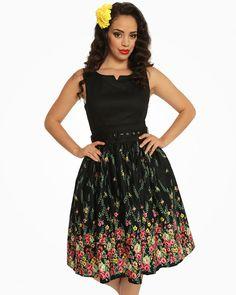 9b87413445a Lindy Bop Delta Black Floral 1950s Style Shift Dress - BNWT - Retro