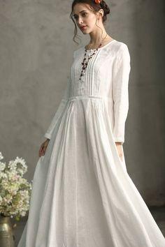 75 Best White linen dresses images in 2019  b186ef905