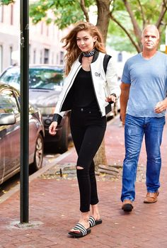 Pin for Later: Gigi Hadid Just Amped Up Her Casual Look With the Coolest Jacket of All Time It Was a Great Way to Give Her Outfit a Boost — and Is Inspiring Our Next DIY