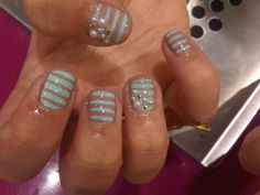 Minty fresh nude stripes with pearls and studs.