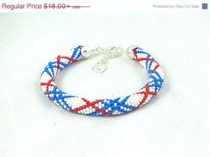SALE Bead crochet rope bracelet with striped pattern, seed beads jewelry, beaded jewelry, plus size fashion ,white blue red