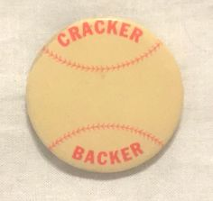 Vintage Atlanta Crackers Baseball Team Cracker Backer Pin Minor League Rare  #AtlantaCrackers
