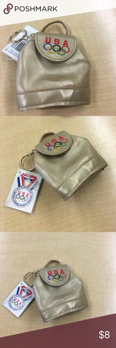 USA Olympic Backpack Keychain Gold. Never used. Still with tags. Fun keychain. Accessories Key & Card Holders