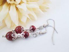 Red Jasper Earrings, Autumn Red Earrings, Red Beaded Earrings, Brick Red Earrings, Red Silver Earrings, Red Jasper Beaded Jewelry