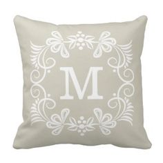 Beige White Custom Monogram Decorative Throw Pillow  Save 15% on all pillow orders! LAST DAY Use Code: ZAZTAXSAVING