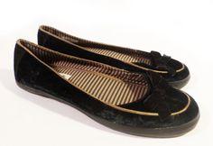 Womens Size 6.5 NANETTE LEPORE for KEDS Black & Tan Velvet Slip On Flats Bows #NanetteLepore #BalletFlats