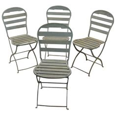 Circa 1900, Set of 4 French Folding Garden Chairs