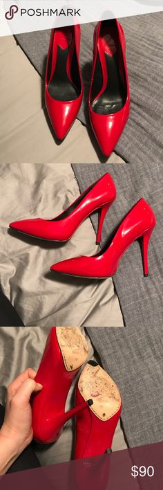 Brian Atwood cherry red patent pumps Worn one time. In excellent condition. Size 10   They are so gorgeous bright cherry red B Brian Atwood Shoes Heels