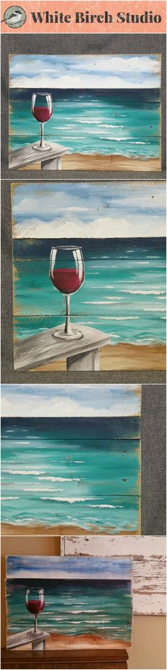 Red Wine on the beach painting, pallet beach wall art, Beach Chair, upcycled Reclaimd, Handmade Seascape horizon, ocean, Distressed, shabby  Dimensions are APPROX. 30 inches wide x 22 inches high   A calming seascape with 3 birds flying in the distance with a sandy shore with a glass of your favorite wine sitting on the arm of your beach chair. It has been slightly aged by sanding the edges.   This would be an interesting, personal touch to a cottage entrance, a front porch or above a…